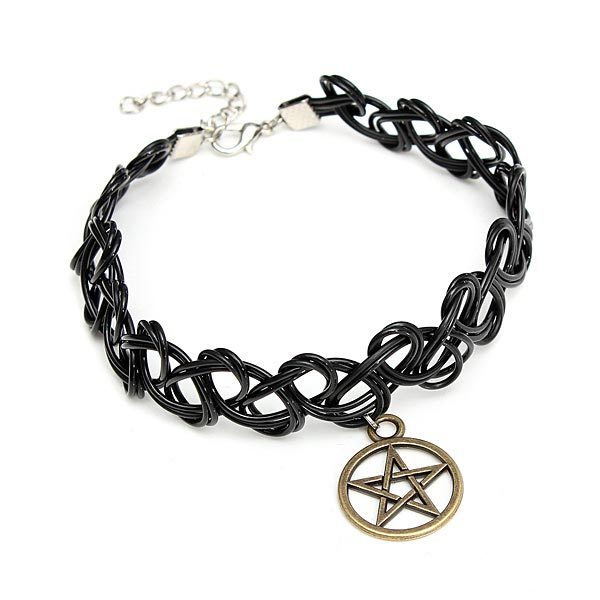 buy black elastic stretch tattoo choker necklace pentagram